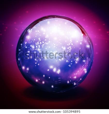 Crystal Ball with lights - stock photo