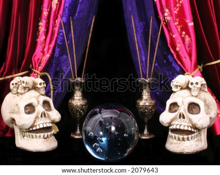 Crystal Ball With Skulls and Incense - stock photo