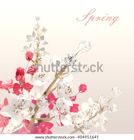 Crystal branches of spring flowering trees.  White and red flowers. Low poly 3D rendering. - stock photo