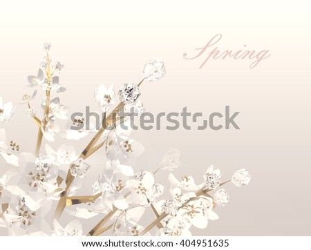 Crystal branches of spring flowering trees.  White flowers. Low poly 3D rendering. - stock photo