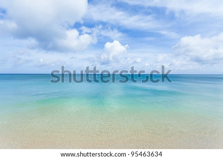Crystal clear blue coral water of a tropical island beach, Okinawa - stock photo