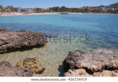 Crystal clear blue water and a view to a beach close to Santa Ponsa and Costa de la Calma, Mallorca