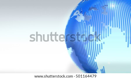 Crystal Clear Globe With World Map.3D rendering.