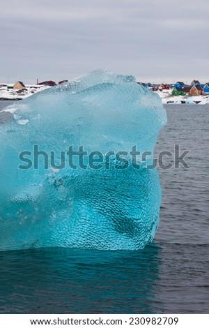 Crystal clear iceberg, Disko bay, Greenland - stock photo