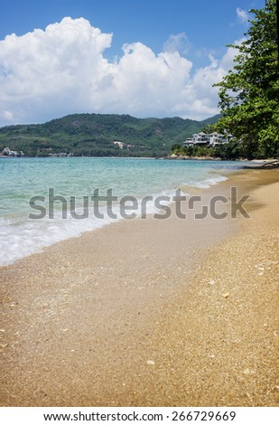 Crystal clear sea and white sand beach. Andaman. Thailand - stock photo