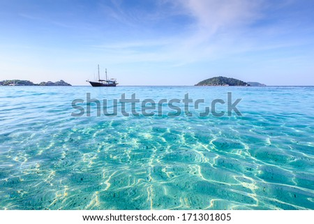 Crystal clear sea of tropical island, Similan, Thailand - stock photo