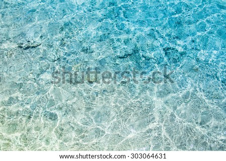 Crystal clear turqoise water of the tropical sea - stock photo