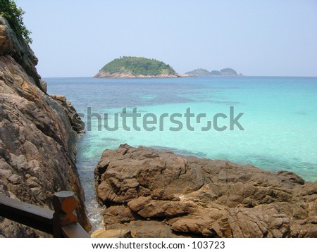 Crystal clear turquoise water off Redang Island, Malaysia - stock photo