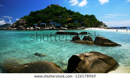 Crystal Clear Water at Tropical Island, Suratthani, Thailand. - stock photo