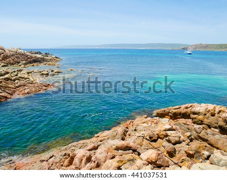 Crystal clear water in Canal Rocks, Western Australia - stock photo