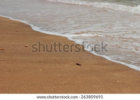 Crystal clear water on the beach of Black Sea, East Crimea - stock photo