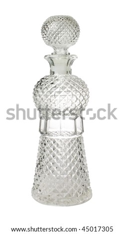 crystal decanter isolated on a white background with clipping path