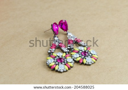 crystal earrings out of box - stock photo
