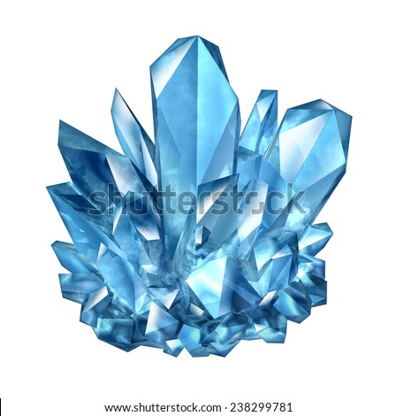 Crystal gemstone object as a natural amethyst mineral jewel as a three dimensional illustration on a white background as a beautiful brilliant precious gem as a symbol of geology and mining. - stock photo