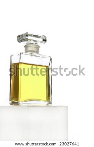 Crystal glass perfume bottle isolated on white