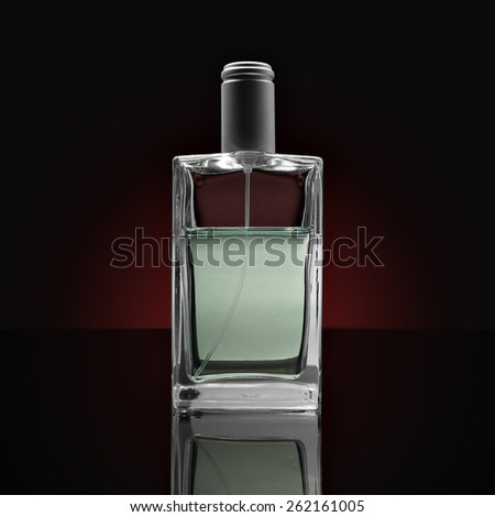 crystal glass perfume bottle isolated transparency and glossy effects - stock photo