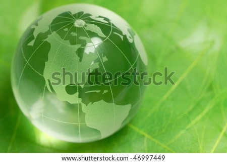 crystal globe on green leaf,Closeup. - stock photo