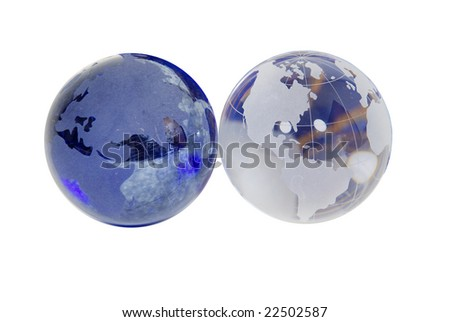 Crystal globes with navigational lines