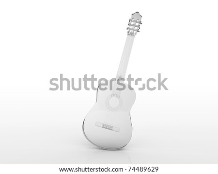 Crystal Guitar against white background.