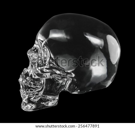 crystal head skull  isolated dicut with clipping path - stock photo