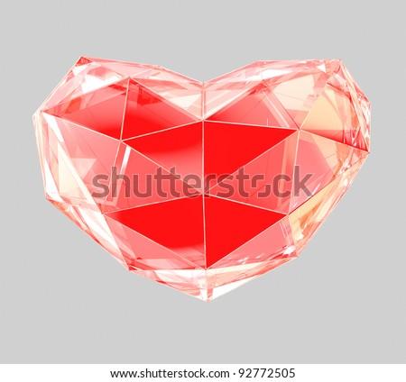 crystal heart - stock photo