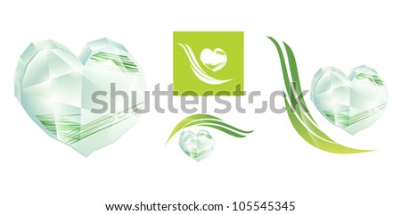 crystal heart with green grass icon or logo design set over white - stock photo