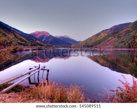 Crystal Lake in autumn near Ouray, Colorado. - stock photo