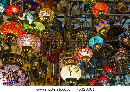 Crystal lamps for sale on the Grand Bazaar at Istanbul - stock photo
