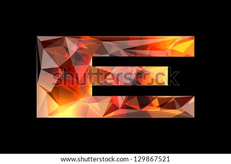 Crystal letter E, isolated on black background. - stock photo