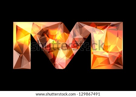Crystal letter M, isolated on black background. - stock photo