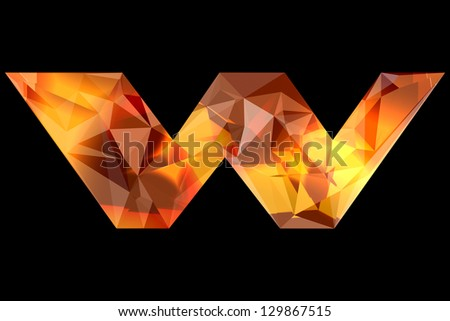 Crystal letter W, isolated on black background. - stock photo