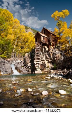 Crystal mill Rocky Mountain Autumn - stock photo