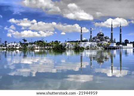 crystal mosque in terengganu  , malaysia - stock photo