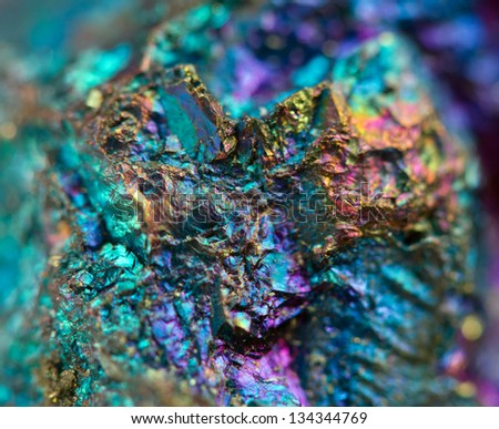 Crystal,nugget, gold, bronze, copper, iron. Macro. Extreme closeup - stock photo