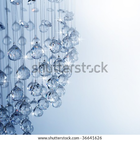 Crystal of modern Chandelier - stock photo