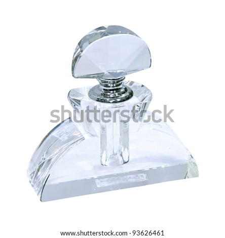 Crystal perfume bottle isolated with clipping path included - stock photo
