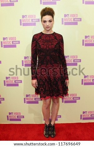 Crystal Reed at the 2012 Video Music Awards Arrivals, Staples Center, Los Angeles, CA 09-06-12 - stock photo