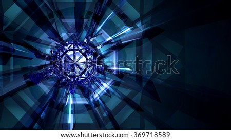 Crystal Refraction Background Refractive light rays from a cluster of crystals. 3d Render. - stock photo