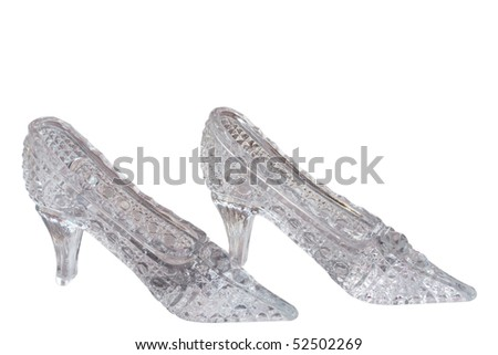 Crystal shoes on a white background - stock photo