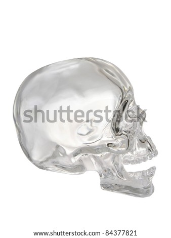 Crystal Skull isolated on a white background - stock photo