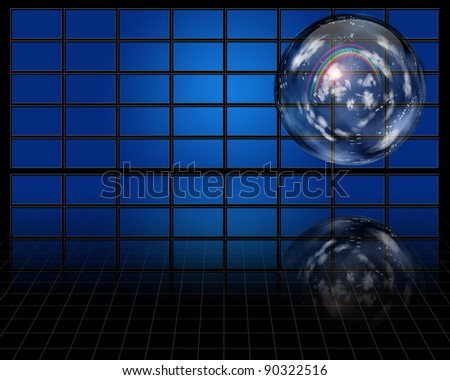 Crystal sphere contaqins atmosphere - stock photo