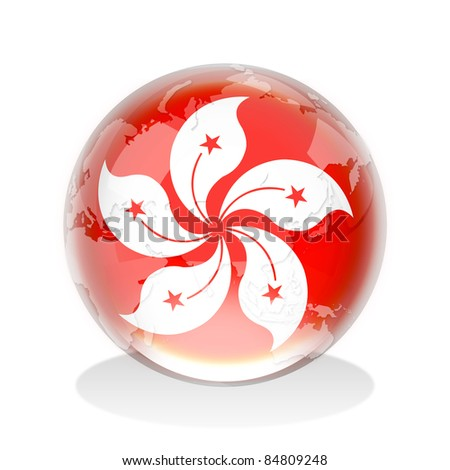 Crystal sphere of Hong Kong flag with world map