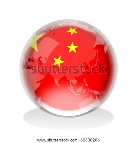 Crystal sphere of People's Republic of China flag with world map - stock photo
