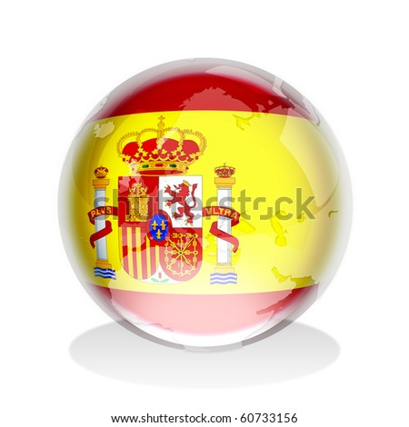 Crystal sphere of Spanish flag with world map - stock photo