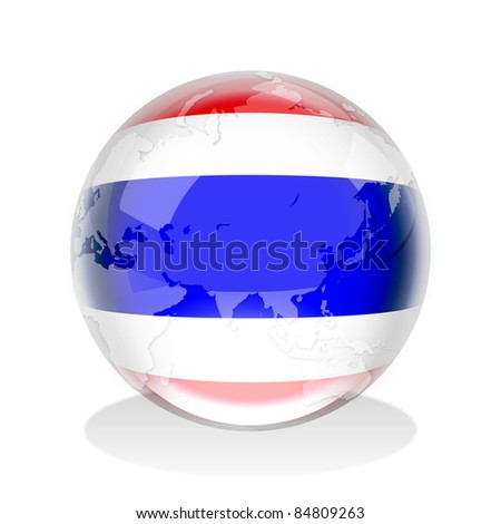 Crystal sphere of Thailand flag with world map - stock photo