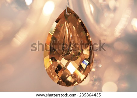 crystal strass for the lamp in brown tones for luxury interior design