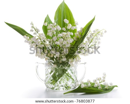 Crystal sugar bowl with Lilly of the Valley on white