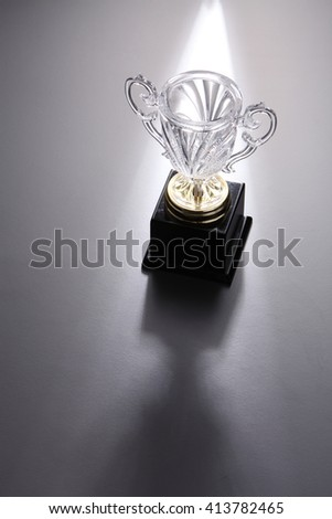 crystal trophy on the gray background - stock photo
