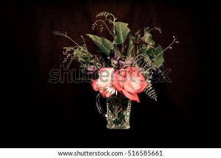 Crystal Vase Pretty Flowers On Dark Stock Photo Image Royalty