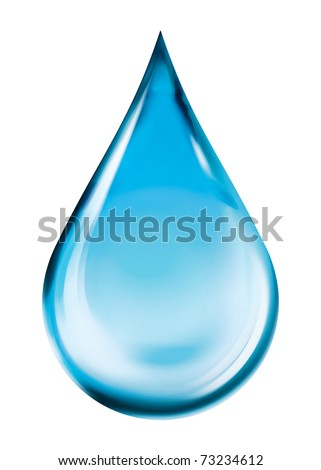 Crystal water drop (clipping path) - stock photo